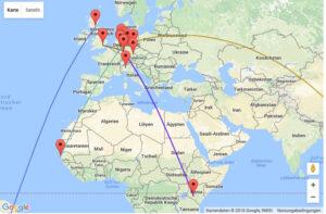 Man sieht eine Weltkarte, auf der einzelne Punkte mit Linien verbunden sind.