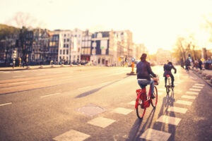 Cycling in Amsterdam at Sunset