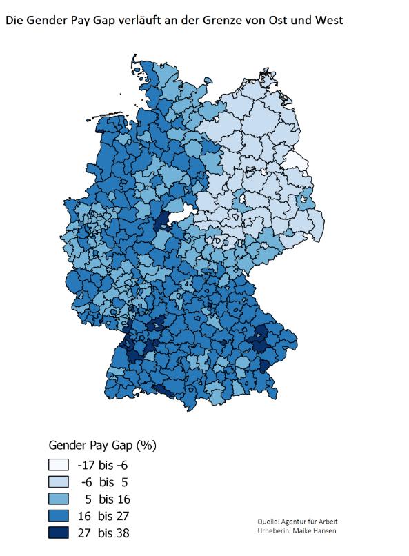 Deutschlandkarte nach Gender Pay Gap gefärbt